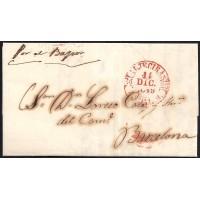 CORREO MARITIMO. 1849. ESPAÑA. SPAIN. ALGECIRAS A BARCELONA.