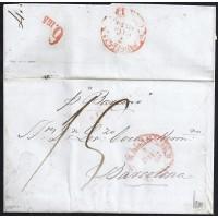 CORREO MARITIMO. 1850. ESPAÑA. SPAIN. MALAGA A BARCELONA.