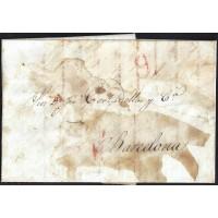 CORREO DESINFECTADO. 1834. ESPAÑA. SPAIN. MADRID A BARCELONA.