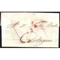 CORREO DESINFECTADO. 1841. ESPAÑA. SPAIN. VELEZ RUBIO A CARTAGENA.