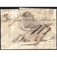 CORREO DESINFECTADO. 1826. ESPAÑA. SPAIN. MARSEILLE. MARSELLA A SANT FELIU DE GUIXOLS.