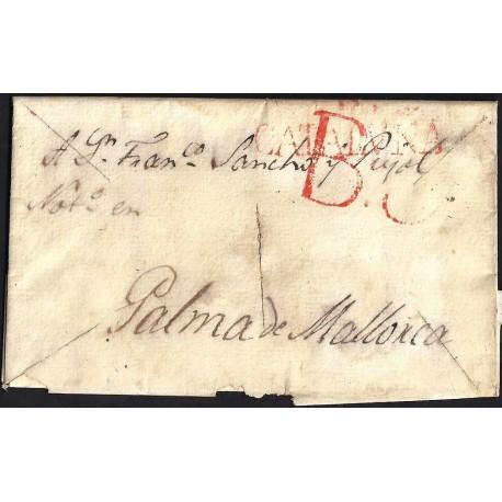 CORREO DESINFECTADO. 1837. ESPAÑA. SPAIN. BARCELONA A PALMA DE MALLORCA.