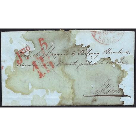CORREO DESINFECTADO. 1848. ESPAÑA. SPAIN. PALMA DE MALLORCA A MADRID.