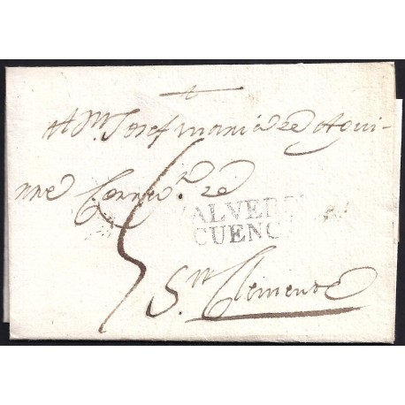 1815. ESPAÑA. SPAIN. VALVERDE DEL JUCAR A SANCLEMENTE.
