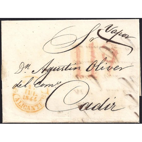 1844. ESPAÑA. SPAIN. ALICANTE A CADIZ.