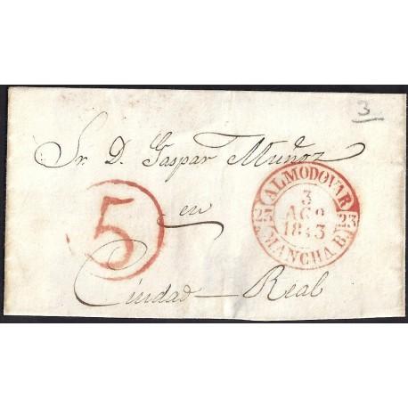 1843. ESPAÑA. SPAIN. ALMODOVAR A CIUDAD REAL.