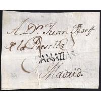 S/F. CIRCA 1808. ESPAÑA. SPAIN. SANTA CRUZ DE TENERIFE A MADRID.