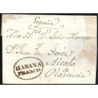 CORREO MARITIMO. S/F. CIRCA 1830. ESPAÑA. SPAIN. ALCALA DE PLASENCIA.