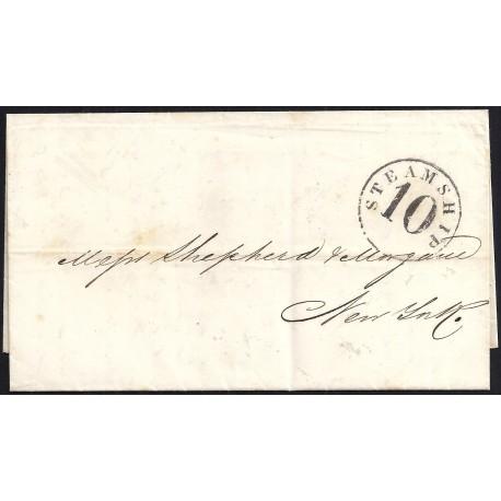 CORREO MARITIMO. 1856. ESPAÑA. SPAIN. MATANZAS A NUEVA YORK. NEW YORK. USA.