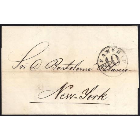 CORREO MARITIMO. 1859. ESPAÑA. SPAIN. LA HABANA A NUEVA YORK. NEW YORK. USA.