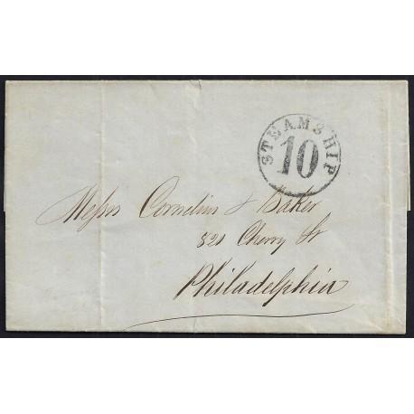 CORREO MARITIMO. 1865. ESPAÑA. SPAIN. LA HABANA A PHILADELPHIA. USA.