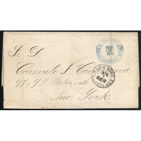CORREO MARITIMO. 1875. ESPAÑA. SPAIN. LA HABANA A NUEVA YORK. NEW YORK. USA.