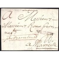 1767. ESPAÑA. SPAIN. VALENCIA A MARSELLA. MARSEILLE. FRANCIA. FRANCE.