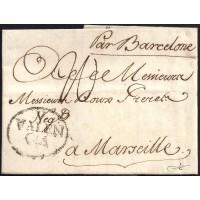 1784. ESPAÑA. SPAIN. VALENCIA A MARSELLA. MARSEILLE. FRANCIA. FRANCE.