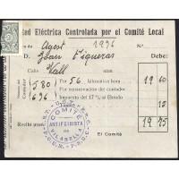 GUERRA CIVIL. REPUBLICANOS. SPANISH CIVIL WAR. REPUBLICANS. 1936. VILABELLA. RECIBO DE PAGO.