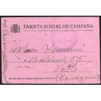 GUERRA CIVIL. REPUBLICANOS. SPANISH CIVIL WAR. REPUBLICANS. 1938. FRENTE EN VILLAROBLEDO A VALLS. TARJETA POSTAL DE CAMPAÑA.