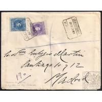 PALENCIA. 1909. ESPAÑA. SPAIN. 15 Y 25 CTS. ED. 246 Y 248. PRADANOS DE OJEDA A MADRID.