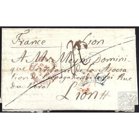 1849. ESPAÑA. SPAIN. BARCELONA A LYON. FRANCIA. FRANCE.