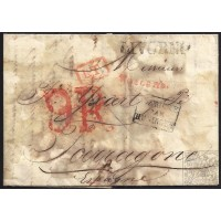 CORREO PROCEDENTE DEL EXTRANJERO. INCOMING MAIL. 1828. ESPAÑA. SPAIN. ITALIA. ITALY. LIVORNO A TARRAGONA.
