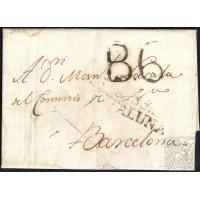 CORREO DESINFECTADO. 1818. ESPAÑA. SPAIN. MALTA A BARCELONA.