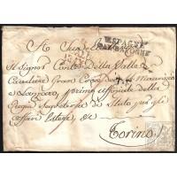 CORREO DESINFECTADO. 1821. ESPAÑA. SPAIN. GIBRALTAR A TORINO. ITALIA. ITALY.
