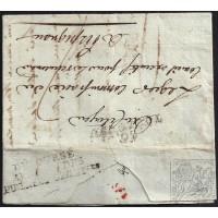 """EF. REVOLUCIÓN. 1793. ESPAÑA. SPAIN. TOULOUSE A PERPIGNAN. MARCA """"30/TOULOUSE"""" Y """"DEBOURSÉ/ARME DES/PIRENEES ORIENTALES""""."""