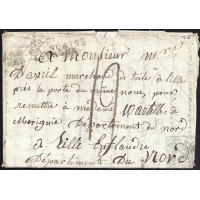 "EF. NAPOLEÓN. 1809. ESPAÑA. SPAIN. TOLEDO A LILLE. (FLANDES, BÉLGICA). MARCA ""Nº 10/ARM. FRANÇAISE/EN ESPAGNE"". ORIGEN INÉDITO."