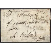 """EF. NAPOLEÓN. 1810. ESPAÑA. SPAIN. JACA A TOULOUSE. MARCA """"JA/ARAGON"""" Y MARCA FRONTERA """"ESPAGNE/PAR OLERON""""."""