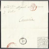 1853. ESPAÑA. SPAIN. SANTA CRUZ DE LA PALMA A LAS PALMAS.