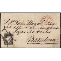 1850. ESPAÑA. SPAIN. PONTEVEDRA A BARCELONA. 6 CUARTOS. ED. 1A.