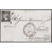1850. ESPAÑA. SPAIN. BARCELONA A AYAMONTE. 6 CUARTOS. ED. 1A.