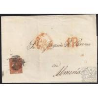 1852. ESPAÑA. SPAIN. MADRID A ALMERÍA. 6 CUARTOS. ED. 12.