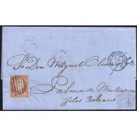 1858. ESPAÑA. SPAIN. LONDRES A PALMA DE MALLORCA. 4 CUARTOS. ED. 48.