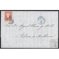 1858. ESPAÑA. SPAIN. NUEVA ORLEANS (USA) A PALMA DE MALLORCA. 4 CUARTOS. ED. 48.