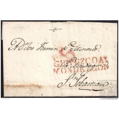 1825. ESPAÑA. SPAIN. DEVA A SAN SEBASTIAN.