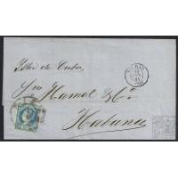 "1861. ESPAÑA. SPAIN. BILBAO A LA HABANA. 1 REAL AZUL. ED. 55. MAT. RC ""20"" EN NEGRO. PRECIOSA ENVUELTA A LA GRAN ANTILLA."